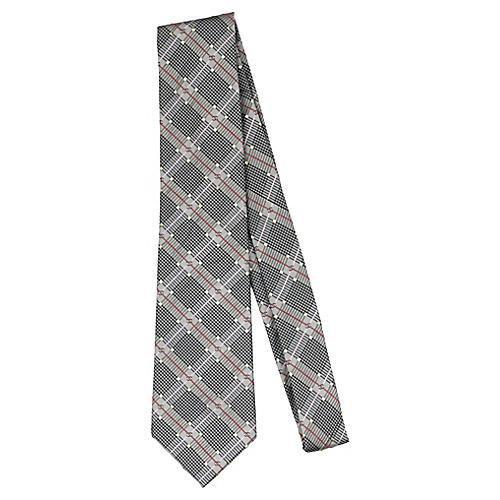 Chanel Gray Plaid Silk Tie
