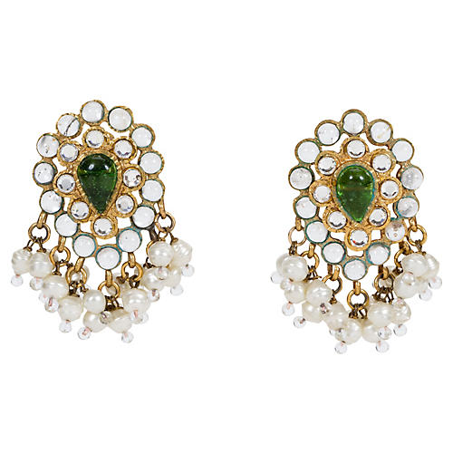 1970s Chanel Faux-Pearl Dangle Earrings