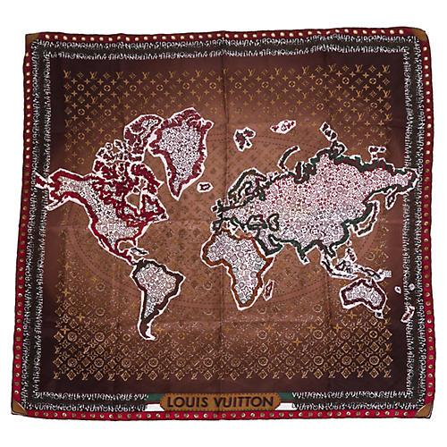 Louis Vuitton World Map Monogram Scarf