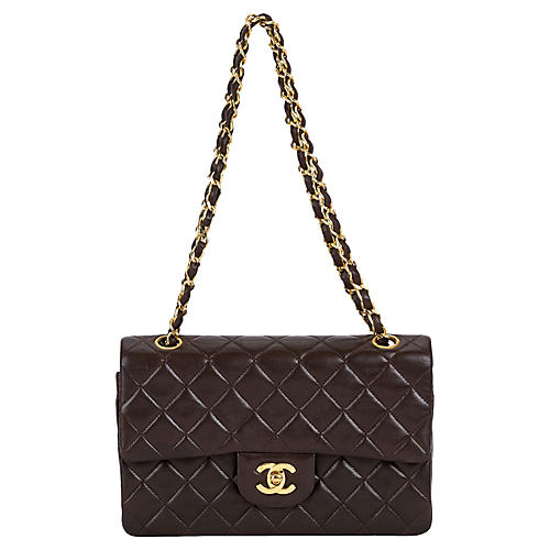 "Chanel Chocolate 9"" Double-Flap Bag"