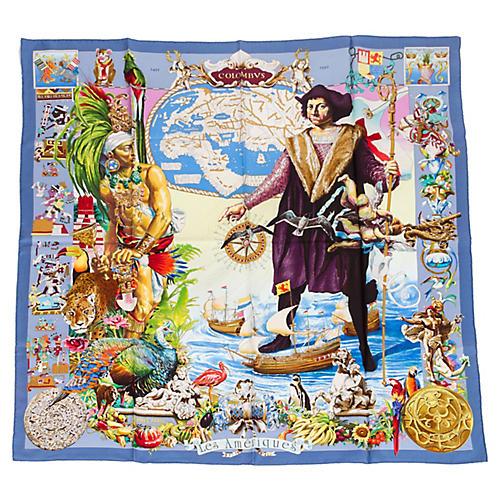Hermès Blue Les Ameriques Silk Scarf