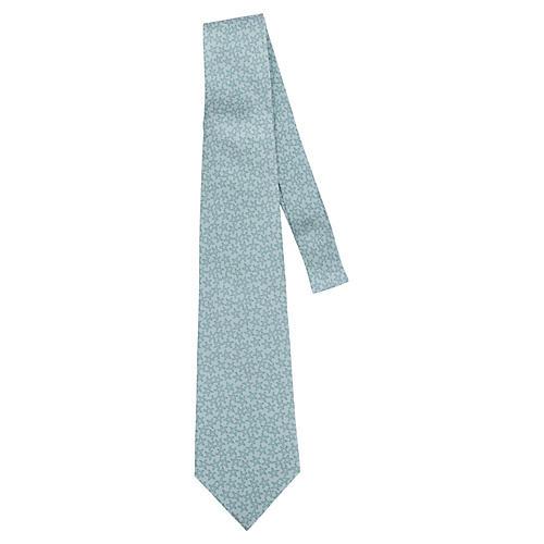 Hermès Aqua Star Print Silk Tie