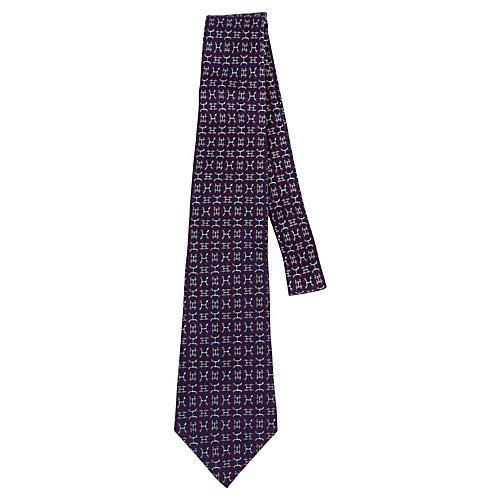 Hermès Blue Silk Link Print Tie