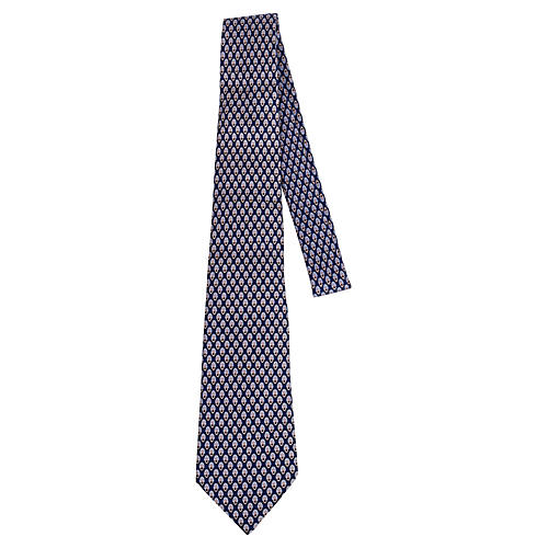 Hermès Blue Graphic Print Silk Tie