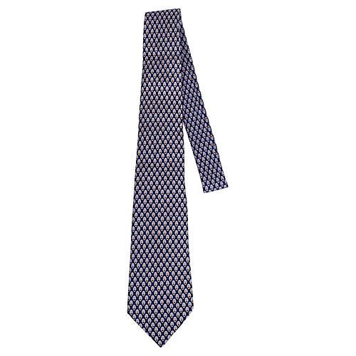 Hermès Blue Graphic Print Silk Tie