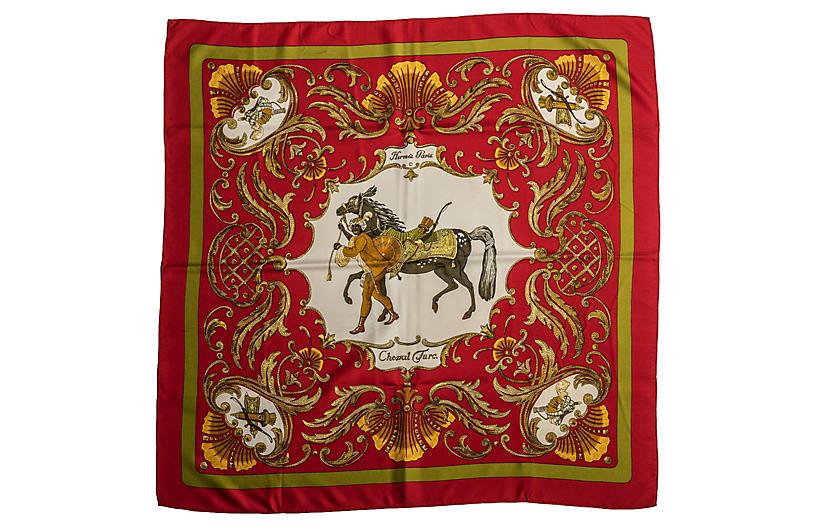 Hermès Red Silk Cheval Turc Scarf