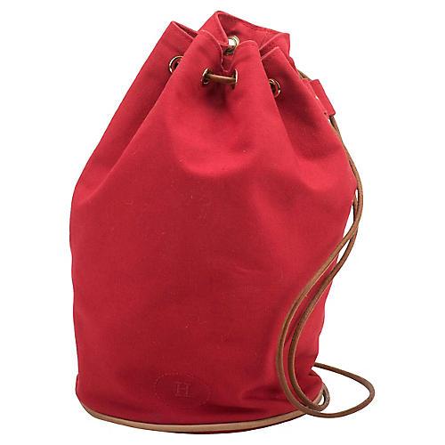 Hermès Red Fabric & Leather Shoulder Bag