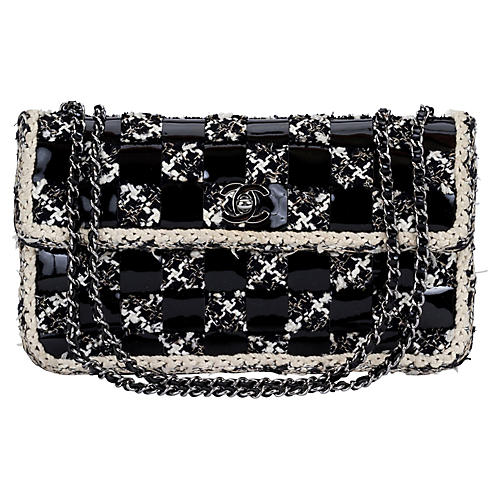 ec1cc4be087d Chanel Black   White Patent Tweed Bag