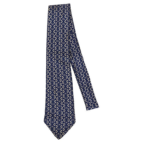 Hermès Navy & Silver Silk Tie