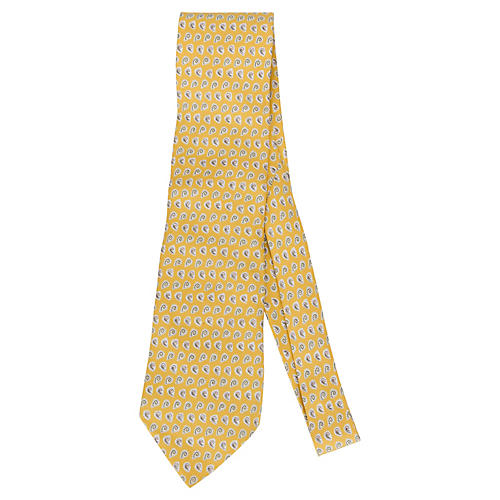 Hermès Yellow Silk Swirl Print Tie