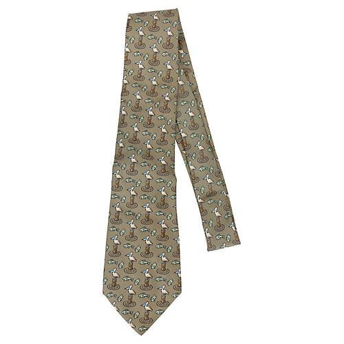 Hermès Silk Pelican Print Tie