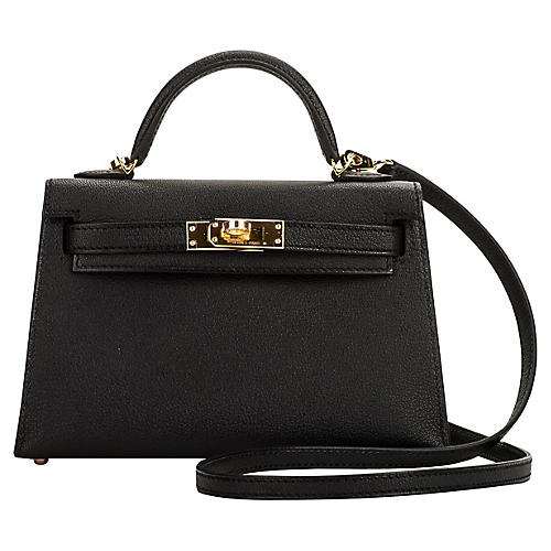 Hermès VIP Black/Gold Mini Kelly II
