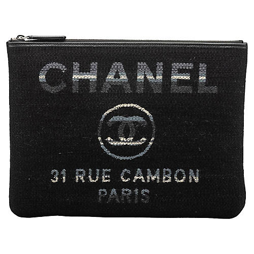 Chanel Medium Black Striped Clutch