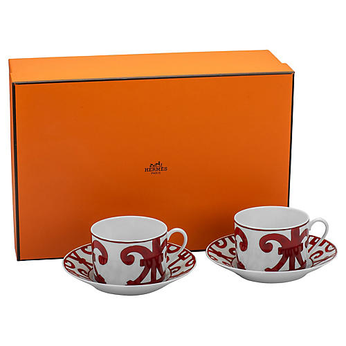 Hermès Teacups & Saucers, S/2