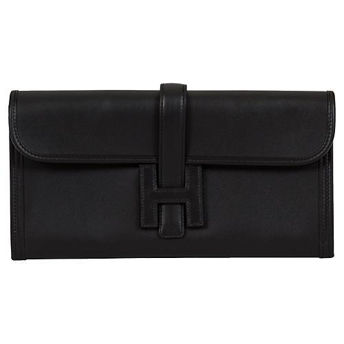 Hermès Black Epsom Jige Elan Clutch
