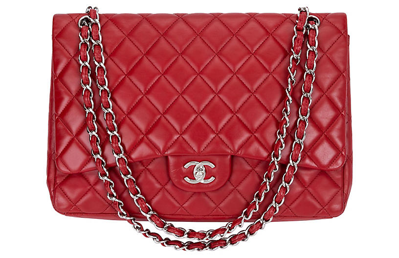 Chanel Red Lambskin Maxi Single-Flap Bag