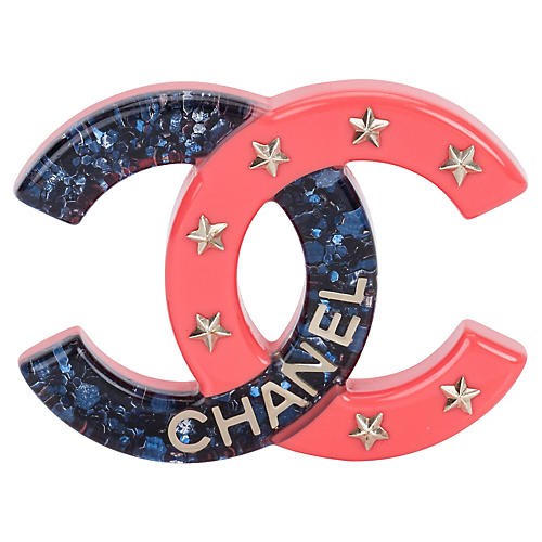 Chanel Blue & Coral Lucite Brooch
