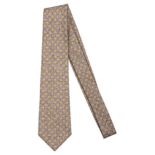Chanel Brown Floral Tie