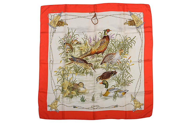 Gucci Silk Waterfowl Print Scarf