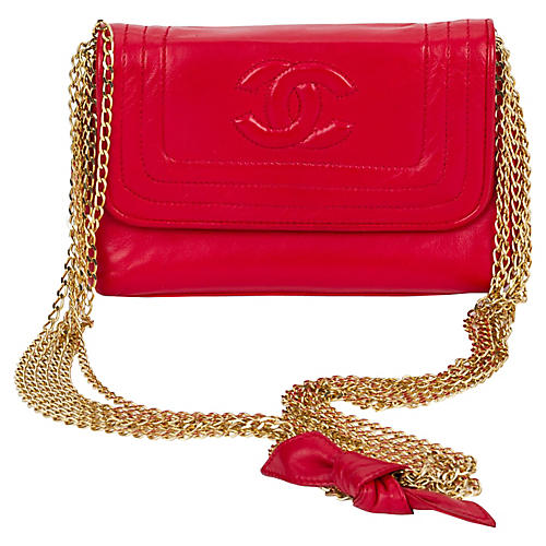 Chanel Red Multi-Chain Evening Bag