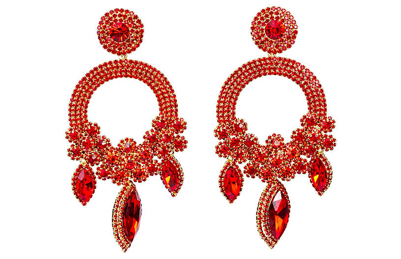 Vrba Red Rhinestone Drop Earrings