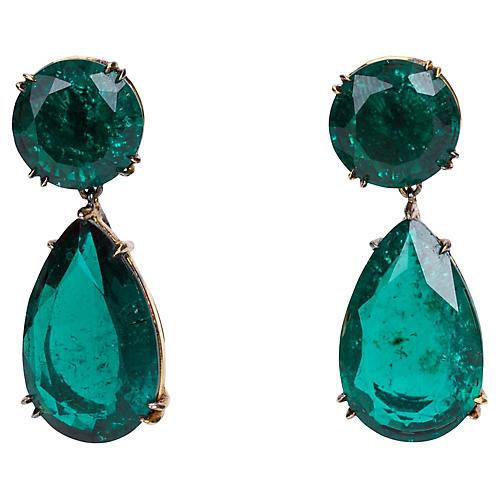 Gold-Filled Faux-Emerald Earrings
