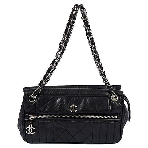 Chanel Black Perforated Leather Handbag