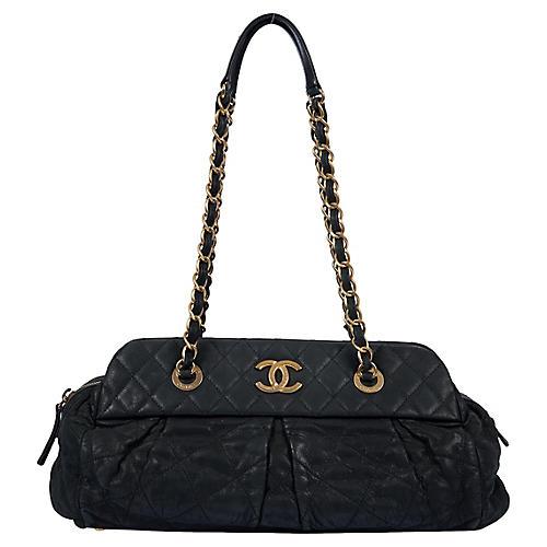 Chanel Matte Black Lambskin Shoulder Bag