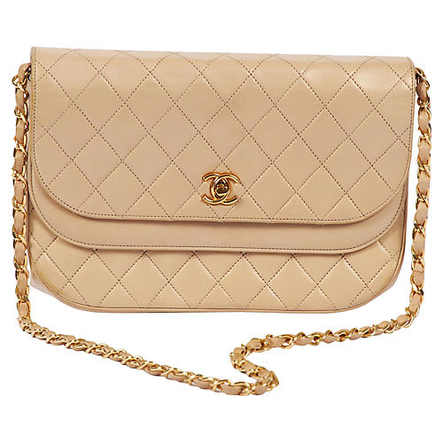 Chanel Beige Double-Flap Bag