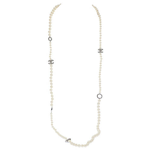 Chanel Long Faux-Pearl Necklace