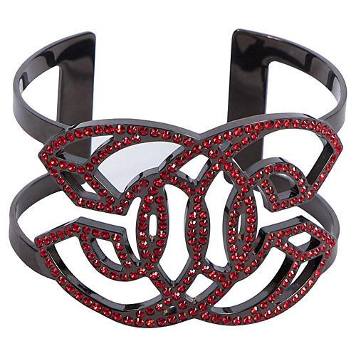 Chanel Gunmetal & Red CC Rhinestone Cuff