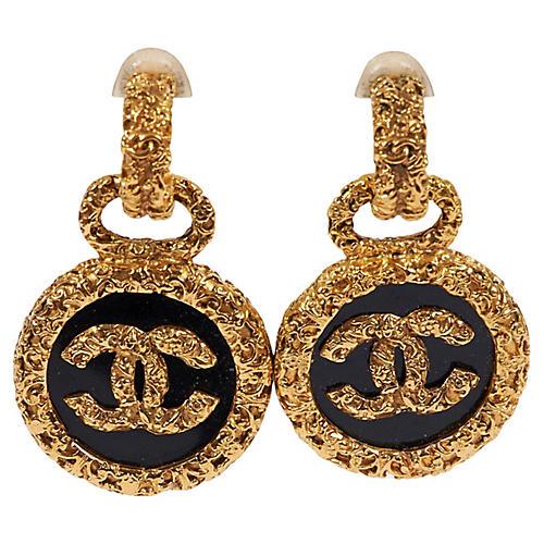 Chanel Black Florentine Drop Earrings