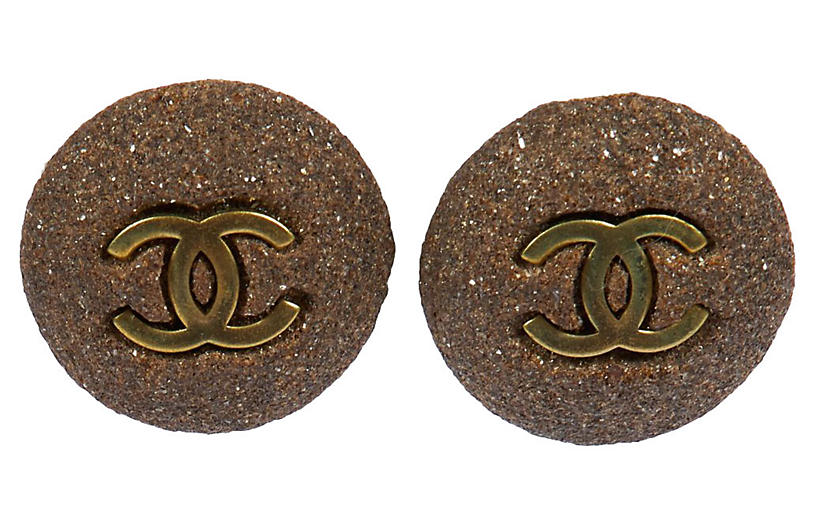 Chanel Gray Stone Clip Earrings