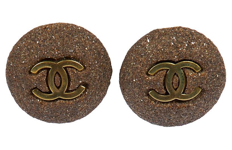 Chanel Gray Stone Clip Earrings