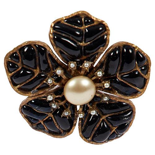 Chanel Black Camellia Pin
