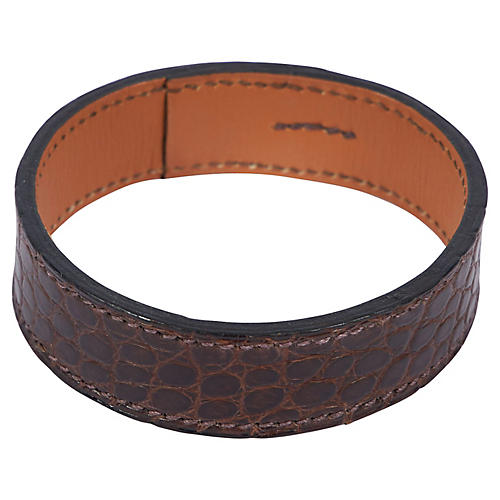 Hermès Brown Croc-Leather Bangle