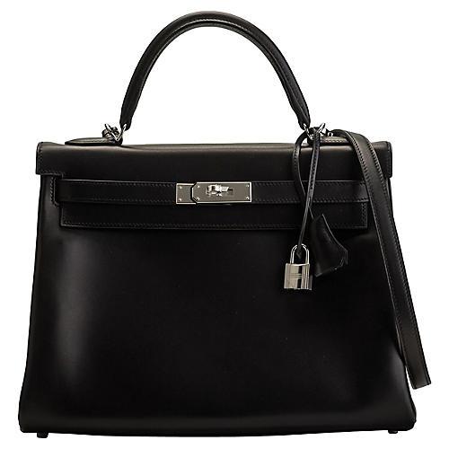 Hermès Black Evercalf 32cm Kelly