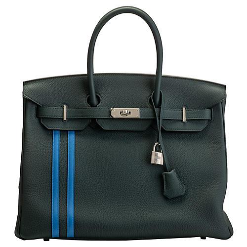 Hermès Vert Cypress 35cm Officier Birkin