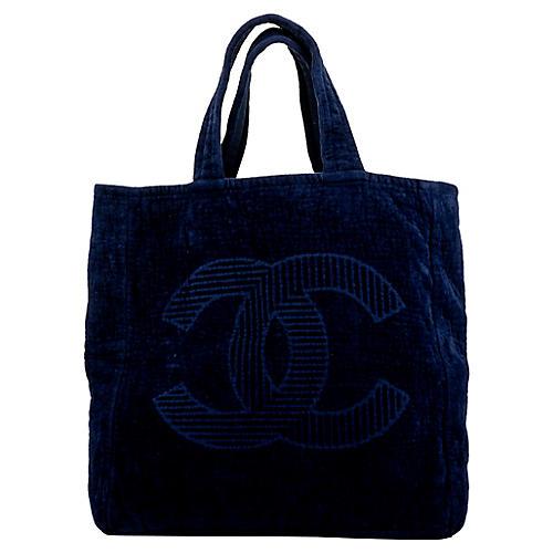 Chanel Navy Terrycloth Beach Bag
