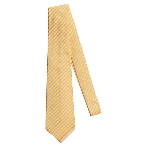 Chanel Yellow & Cream Silk Tie