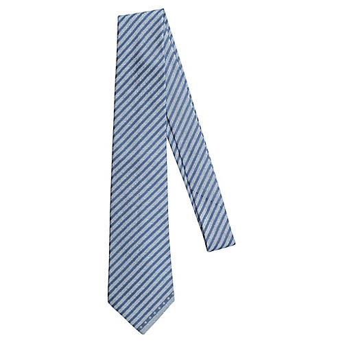 Chanel New Silk Light Blue Striped Tie