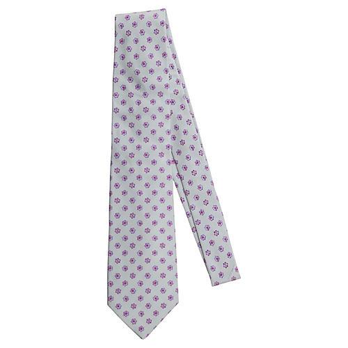 Chanel New Silk Grey Flower Tie