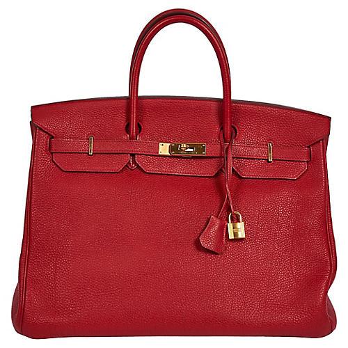 Hermès Rouge Casaque & Gold 40cm Birkin