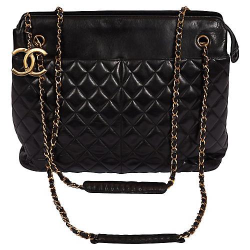 Chanel XL Black Lambskin Shopper