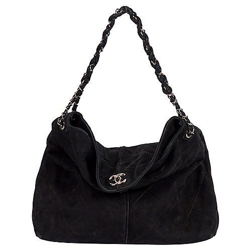 Chanel 2 Way Black Suede Large Bag