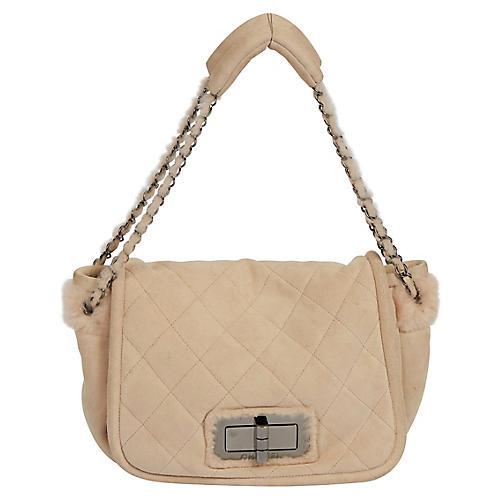 Chanel Pink Shearling Shoulder Bag