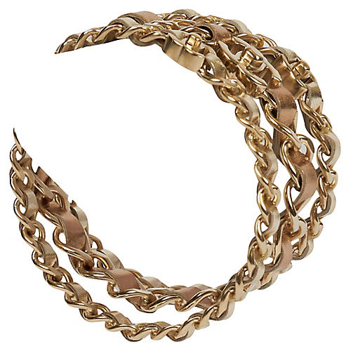 Chanel Set Of 3 Gold Chain Bangles