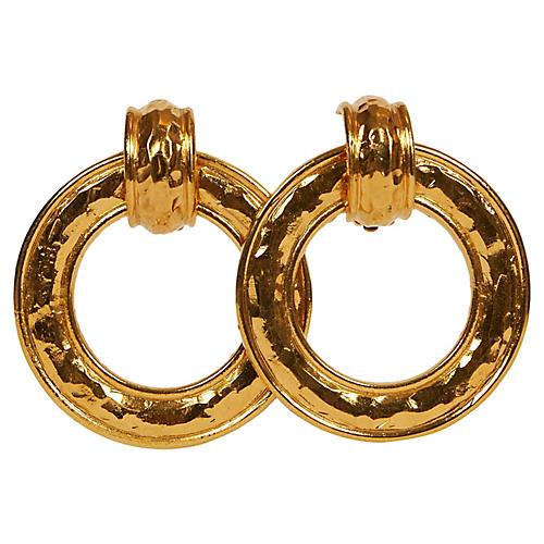Chanel 80 Hammared Gold Knocker Earrings