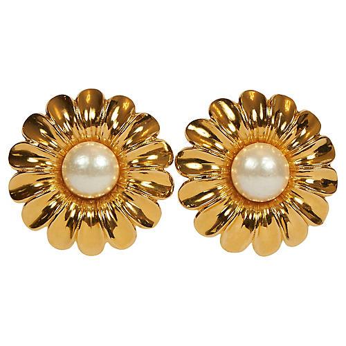 Chanel Oversized Daisy 70s Earrings