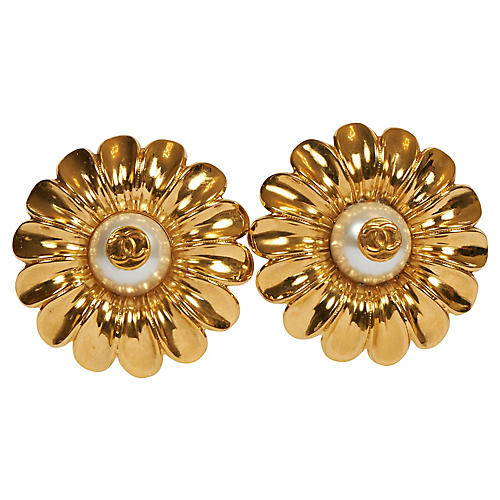 Chanel Oversized Daisy Clip Earrings